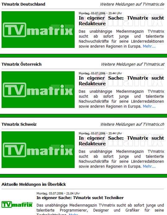 TV Matrix sucht Mitarbeiter - gleich 4 Mal